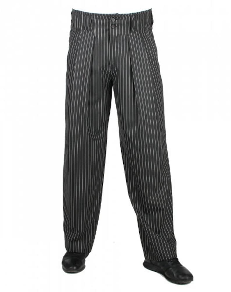 1950s Men's Clothing H.K.Almond Black White Striped Mens Pants with Extra Wide Cut Legs Fabric Pants with Waistband Vintage Style Model Boogie $91.69 AT vintagedancer.com