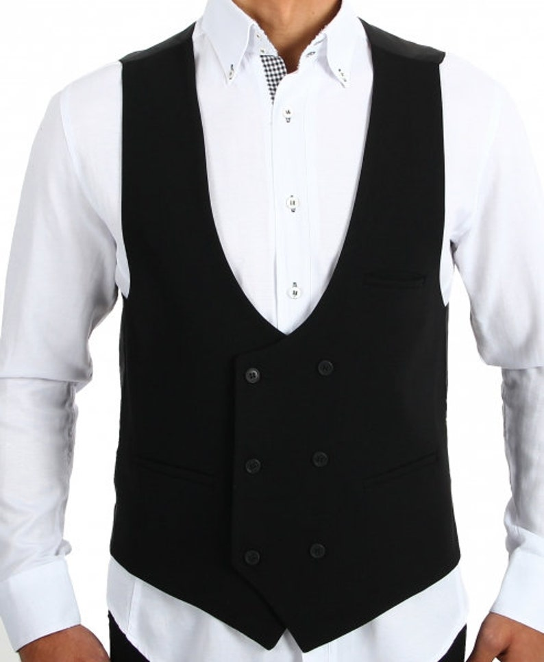1920s Style Mens Vests Black Men Vest $81.06 AT vintagedancer.com