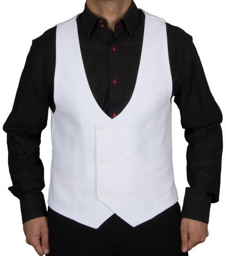 1920s Style Mens Vests Men Vest in White $81.06 AT vintagedancer.com