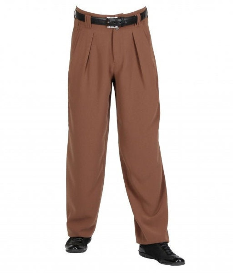 1940s UK and Europe Men's Clothing – WW2, Swing Dance, Goodwin 50s Waist Fold Mens Pants in Brown Vintage Fashion Mens 50s 60s Model Boogie $91.69 AT vintagedancer.com