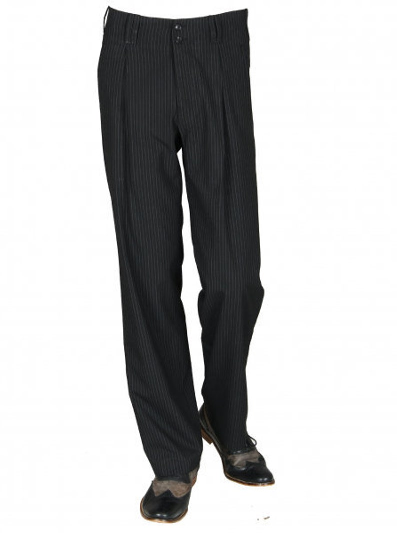 1940s UK and Europe Men's Clothing – WW2, Swing Dance, Goodwin HK Mandel Mens Pants in Black with White Pinstripe Retro Vintage STYL Swing Waistband Pants with White Pinstripe Model Swing $91.69 AT vintagedancer.com