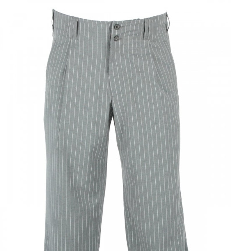 1940s UK and Europe Men's Clothing – WW2, Swing Dance, Goodwin Grey White Striped Waistband Pants in the Style of 50s Fashion Rockabilly Men Model Swing $91.69 AT vintagedancer.com