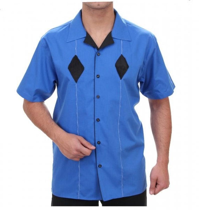 1950s Mens Shirts   Retro Bowling Shirts, Vintage Hawaiian Shirts Fifties Style Men $81.06 AT vintagedancer.com