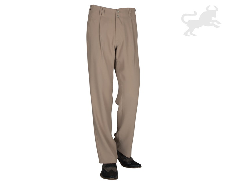 1950s Men's Pants, Trousers, Shorts | Rockabilly Jeans, Greaser Styles Fabric Pants Men Beige Retro Vintage Style Pleated Pants Men With Straight Cut Legs $110.81 AT vintagedancer.com