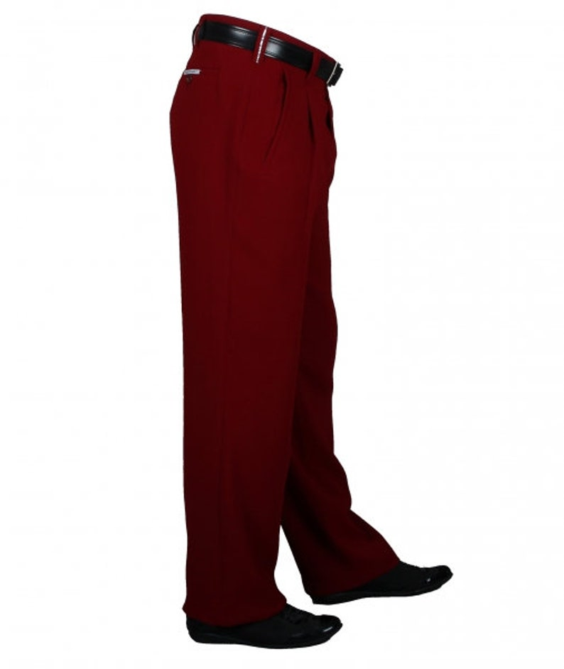 1950s Men's Pants, Trousers, Shorts | Rockabilly Jeans, Greaser Styles Mens Trousers in Wine Red with Waistband Folds in the Style of 50s Lindy Hop Style Fifties Style Mens Trousers Model Swing $91.69 AT vintagedancer.com