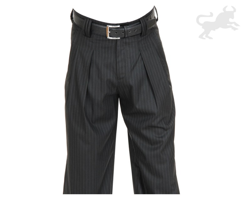 1950s Men's Pants, Trousers, Shorts | Rockabilly Jeans, Greaser Styles Mens Pants Black with White Pinstripes Retro Vintage Style Swing Lindy Hop Pants 1930 1940s Outfit Men Pants with Pinstripes $97.26 AT vintagedancer.com