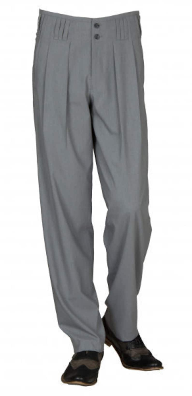 1950s Men's Pants, Trousers, Shorts | Rockabilly Jeans, Greaser Styles Waistband pants in grey model boogie retro vintage style business suit pants in cotton blend with extra wide cut leg. $91.69 AT vintagedancer.com