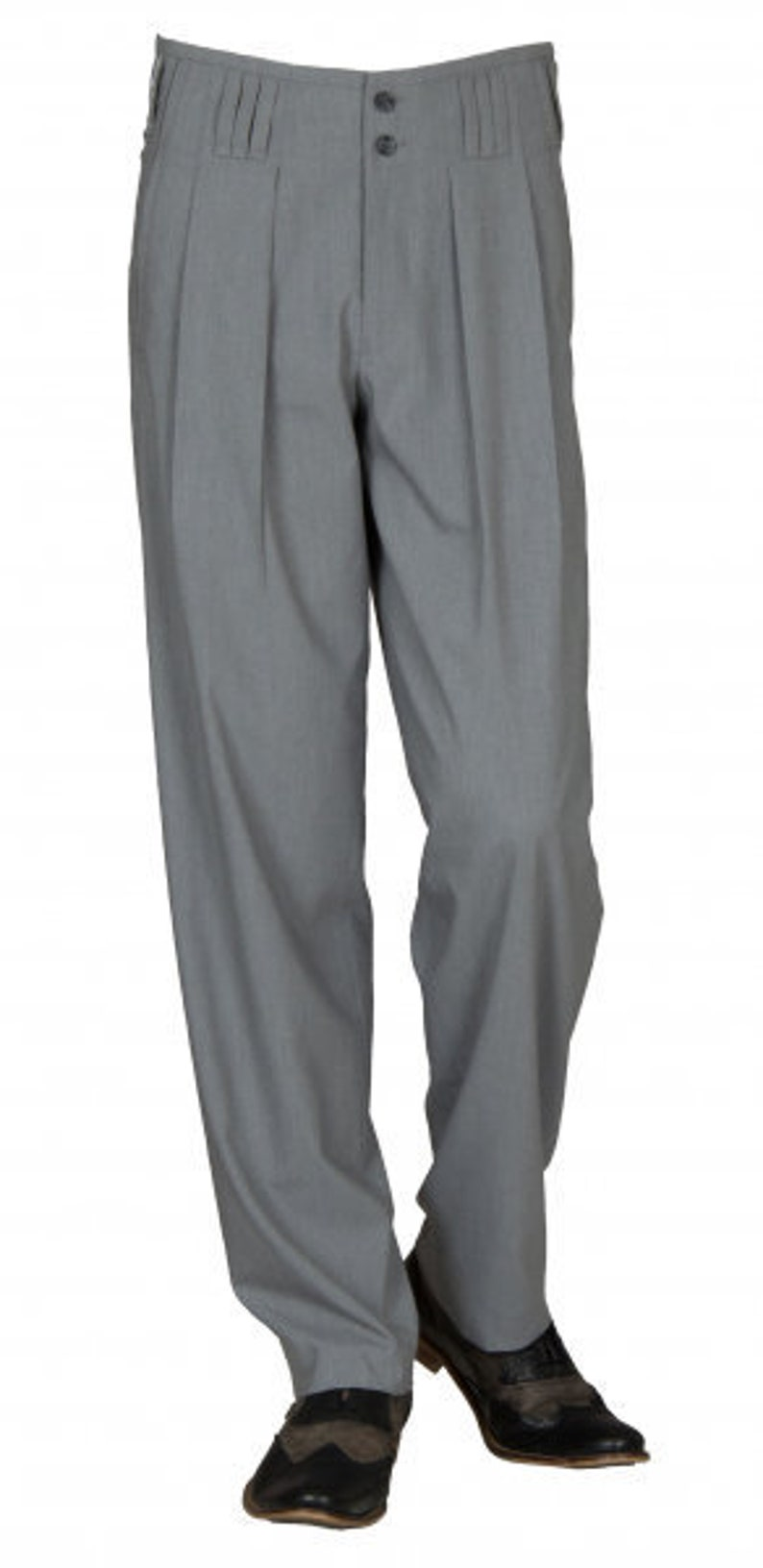1940s UK and Europe Men's Clothing – WW2, Swing Dance, Goodwin Waistband pants in grey model boogie retro vintage style business suit pants in cotton blend with extra wide cut leg. $91.69 AT vintagedancer.com