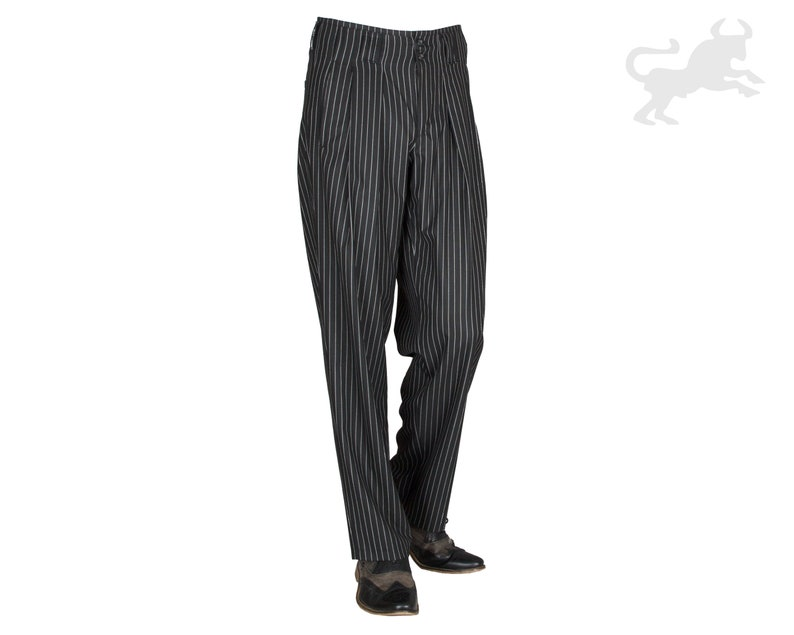 1950s Men's Pants, Trousers, Shorts | Rockabilly Jeans, Greaser Styles Black White Striped Mens Pants with Extra Wide Cut Legs HK Almond Fabric Pants with Waistfold Retro Vintage Style Model Boogie $97.26 AT vintagedancer.com