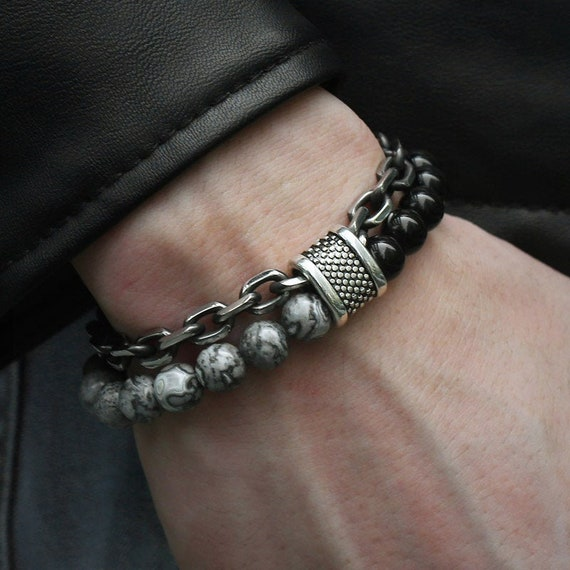Meangel Natural Stone Beads Bracelet for Men Boys Stainless Steel Rolo Cable Link Chain Double Bracelet / Unique Bracelet / Gift for Him /