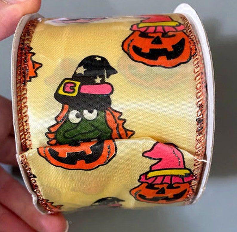 Ribbon Halloween Retro with Wired Edge 2.5 inch x 3 yards Wreaths Bows Gift Wrapping Home Decor Holiday