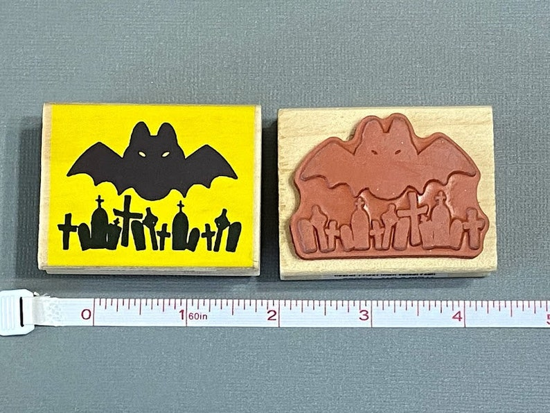 Party Favors Craft Making Card Making Invitations Halloween Stamp Bat and Graveyard Rubber Stamps Mounted on Wood Block Scrapbooking