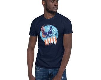 Skull and American Flag design - Short-Sleeve Unisex T-Shirt