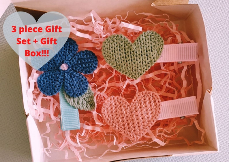 Baby girl gift set of 3 Flower hair clip and heart shape hair clips Little girls hair clips Cute hair clips for toddler girls