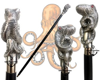 INP OCTOPUS Wooden Cane Victorian style walking sticks canes best Collectible gift Octopus Head Handle Walking Stick Cane Natural Wood