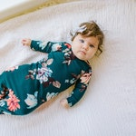 Hunter Green Floral Knotted Baby Gown - knotted knit gown, knotted sleeper, baby gown, baby sleeper