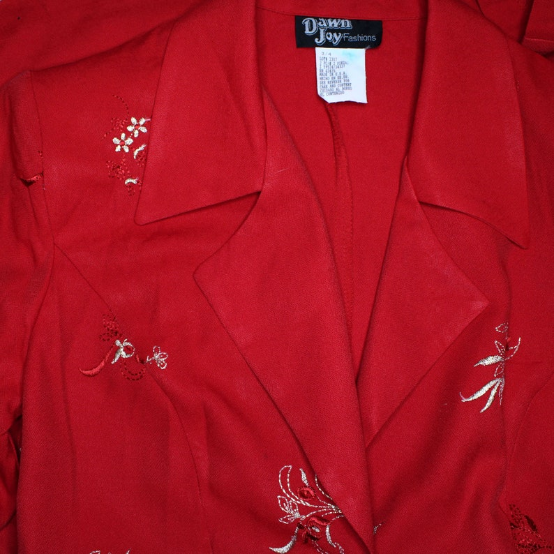 Dawn Joy Fashions Vintage 1980s Red Blazer Suit Dress with Gold Embroidered Flowers Button Up Size 3