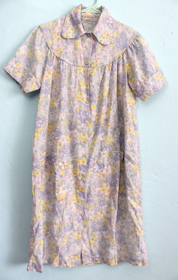 Vintage 1960s Floral House Dress with Peter Pan C… - image 4