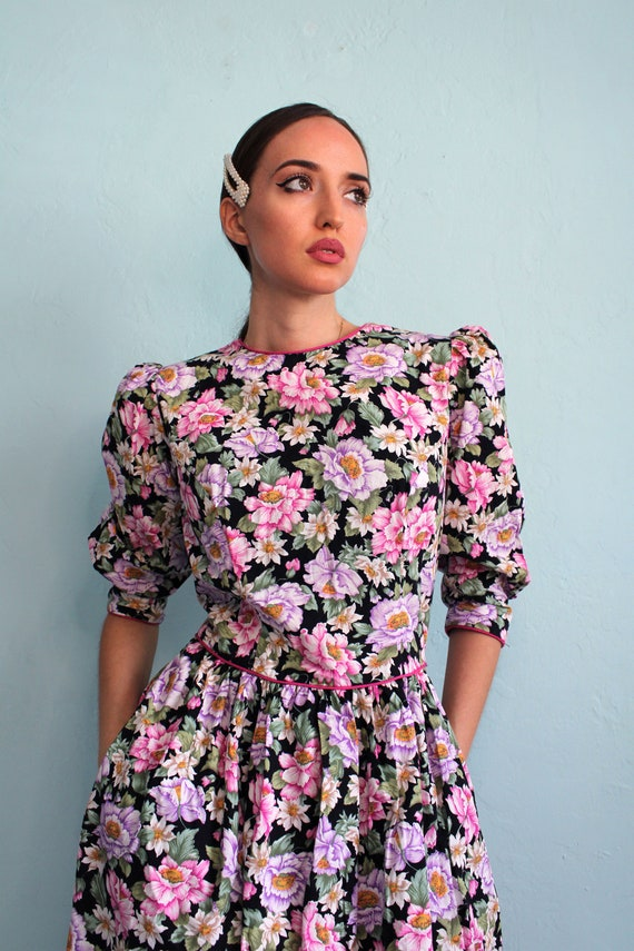 Vintage 1980s Lanz Floral Dress with Puff Sleeves