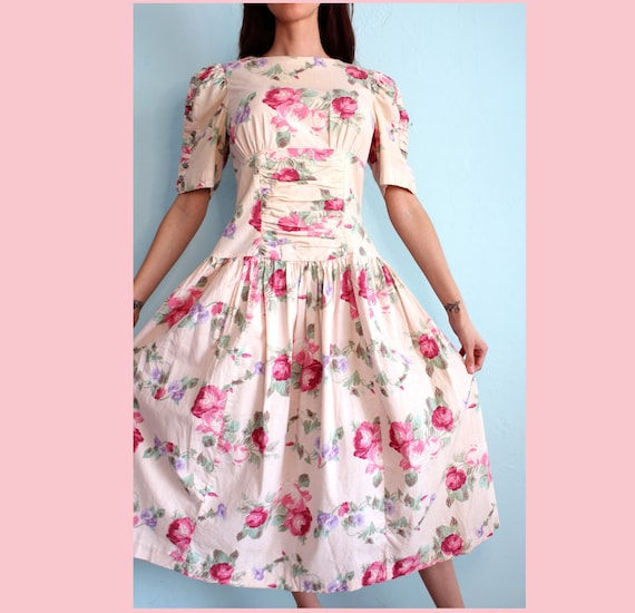 Vintage 1980's Puff Sleeve Floral Party Dress