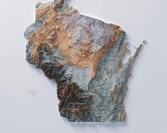 Wisconsin   - Hypsometric tint 3