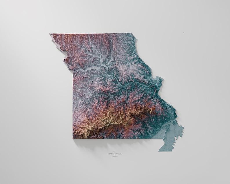 Hypsometric tint 5 Missouri
