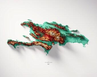 Hispaniola - Hypsometric tint 1