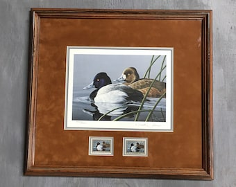 1989-90 Neal R. Anderson- Lesser Scaup with signed and mint stamp.