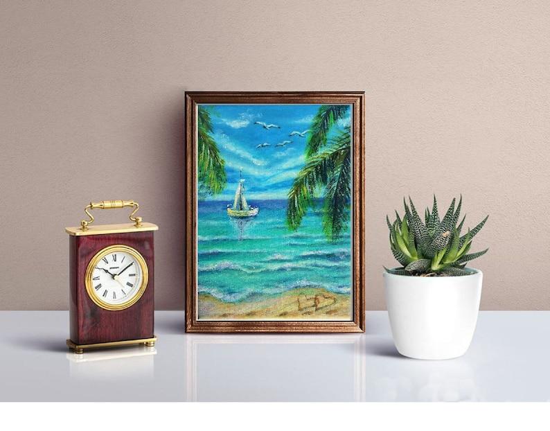 Nautical Art Sailboat Artwork Palm Trees on a Sandy Beach Hawaii Painting  Original Small Oil Painting