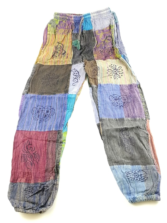 Cotton Light Summer Trousers Patchwork Casual Hippie Boho Elastic Nepalese Pants