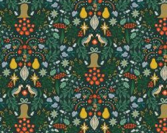 RP600-EV2M Holiday Classics - Partridge - Evergreen Metallic Fabric
