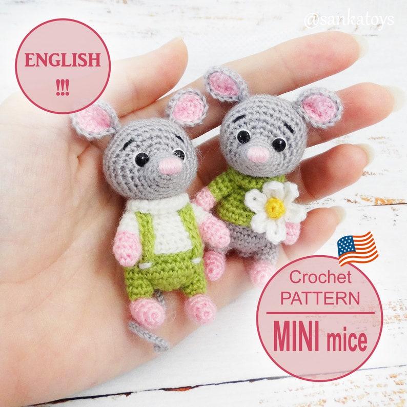 Amigurumi Crochet pattern Mini mice digital download pdf image 0