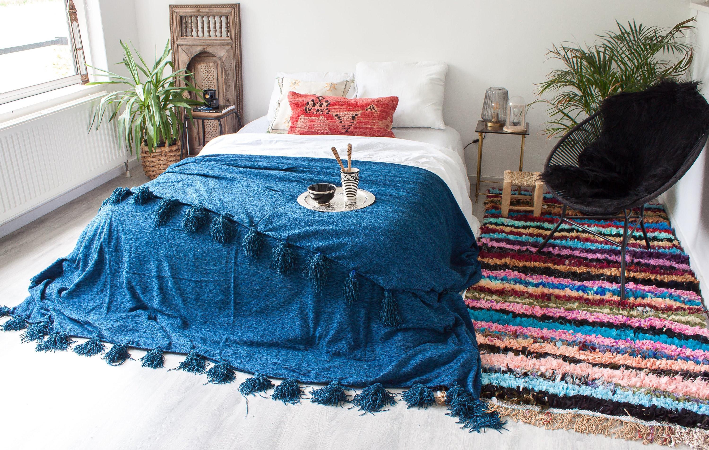 Pompom marocain/Couverture berbère Deluxe 'Mignight Blue' - XL
