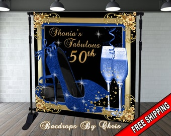 RUINI Blue with Gold Spots Photography Backdrop Not Glitter Baby Photo Background Banner 7x5FT
