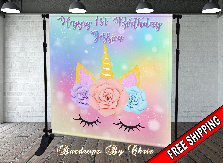 Unicorn Party Backdrops 4×4 Ft