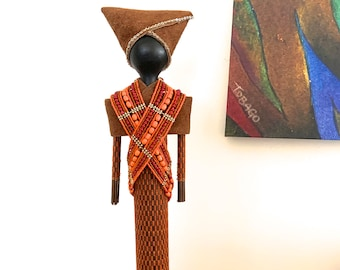 FREE PENDANT NECKLACE with purchase, African Art Doll, repurposed materials, beautiful orange and brown fabric