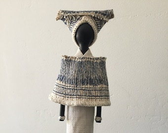 SOLD, African Art Doll, repurposed materials, black and white fabric