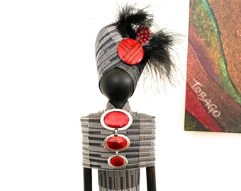 FREE PENDANT NECKLACE with purchase, African Art Doll, repurposed materials, red and black fabric, feathered headdress