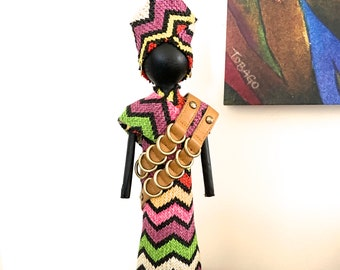 FREE PENDANT NECKLACE with purchase, African Art Doll, repurposed materials, multi-colored striped fabric, leather accessory