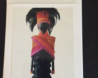Set of 5 assorted notecards of African art dolls
