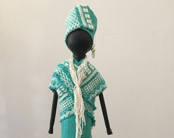 FREE PENDANT NECKLACE with purchase, African Art Doll, repurposed materials, turquoise fabric,