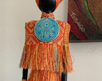 FREE PENDANT NECKLACE with purchase, African Art Doll, repurposed materials, orange cloth, blue repurposed jewelry.