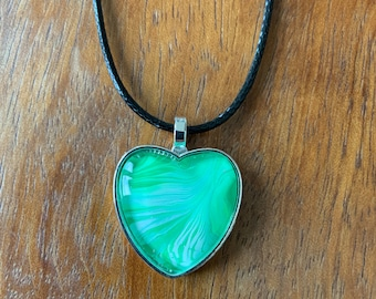 PENDANT NECKLACE, One of a Kind, Beautiful Heart Shaped Necklace, Handmade, available in green, blue, pink, or red acrylic painted