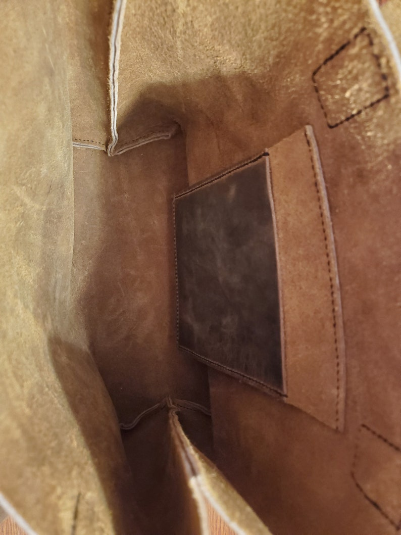 One of A Kind Large Handmade Brown Leather Tote Laptop Bag with Pocket