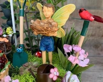 Fairy Garden - Boy Fairy Gathering Mushrooms/Fairy Garden Kit Complete/Fairy Garden Supplies/Miniature Fairy Garden/Dollhouse Miniatures