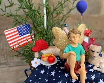 Fairy Garden - Baseball Boy Fairy and Dog/Fourth of July Decoration/Fairy Garden Kit Complete/Fairy Garden Supplies/Miniature Fairy Garden