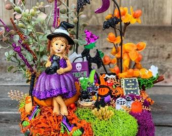 Miniature Garden - Halloween Miniature Garden, Complete Miniature Garden, Halloween Decoration, Halloween Party Favor, Miniature Witch