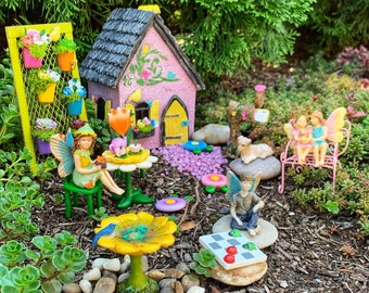 Fairy Garden - 25 Piece Complete Fairy Garden Kit, Fairy Garden Accessories, Miniature Garden Supplies, Outdoor Fairy Garden, Fairy Cottage