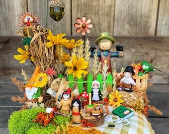 Miniature Garden - Fall Miniature Garden, Miniature Garden Accessories, Thanksgiving Gift, Thanksgiving Centerpiece, Thanksgiving Decoration