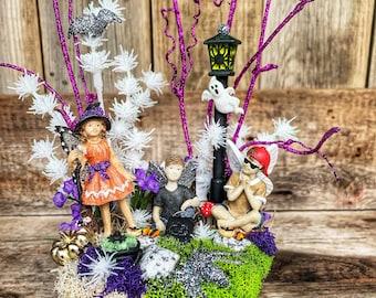 Fairy Garden - Halloween Fairy Garden/Three Fairies/Witch Fairy/Boy Fairy/Miniature Fairy Garden/Halloween Decoration/Fairy Garden Supplies